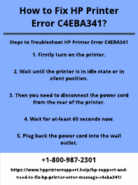 How to Fix HP Printer Error C4EBA341?